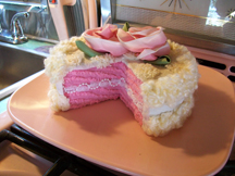 Hand knitted cake