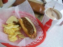 My chili dog and chocloate milkshake at Ben's