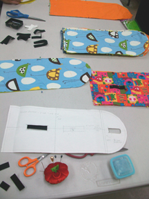 Our pattern, some fabric choices and velcro pieces
