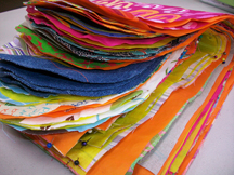 a stack of unfinished fabric sandwich bags