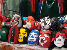 Stacks of wrestling masks for sale