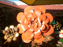 Huge orange metal flower