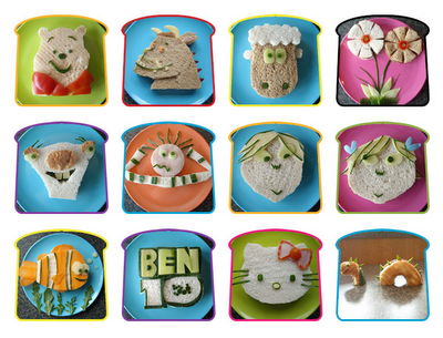 cute characters cut from sandwich fixins