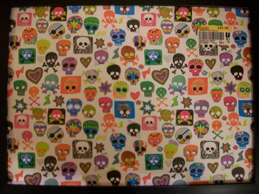 A pattern from skulls on a portable lap table
