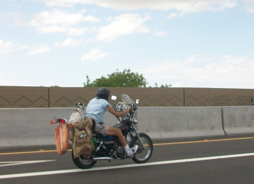 A man on his bike with his dog