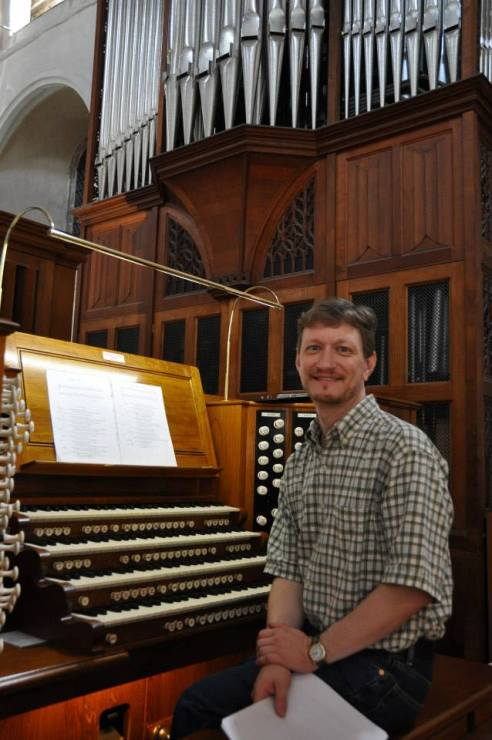 Dr James Gerber at the organ